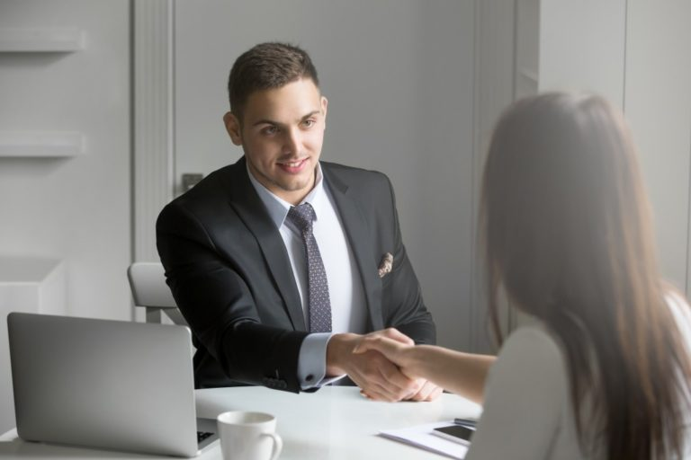 Job interview with male applicant